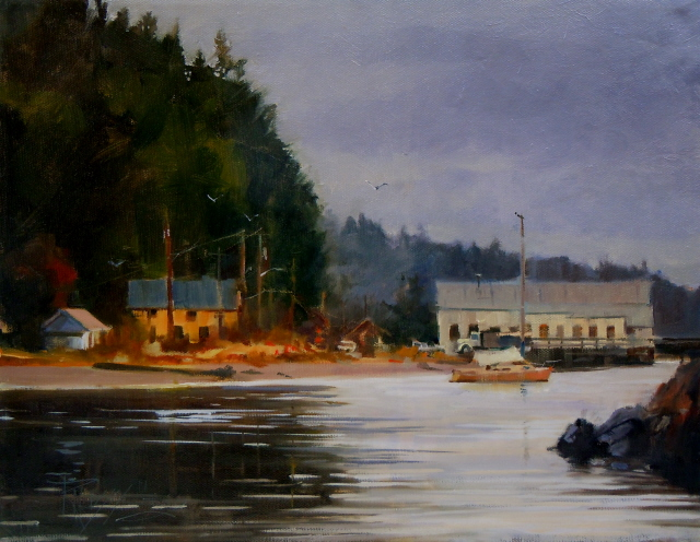 """The Ajax Cafe  Port Hadlock, Washington state, oil marine scape painting"" original fine art by Robin Weiss"