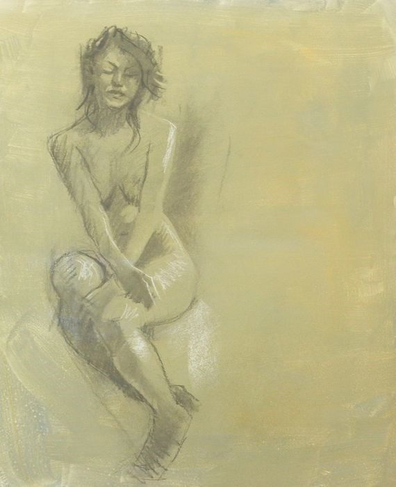 """Female nude sketch"" original fine art by Peter Orrock"