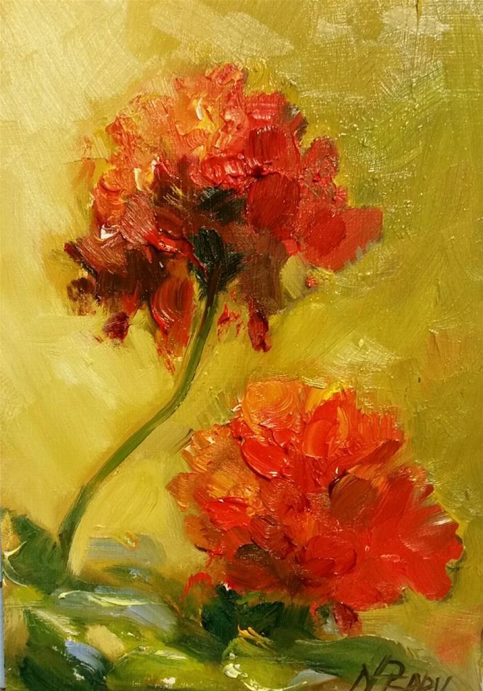 """Geranium Blooms"" original fine art by Nan Perry"
