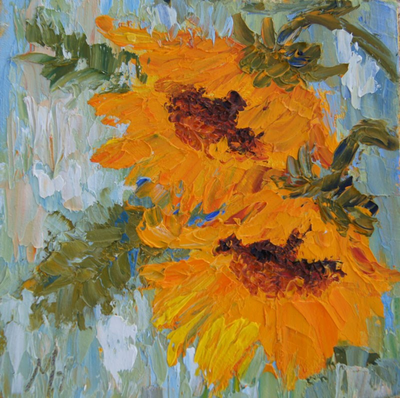 """Sunflower Duo, palette knife painting"" original fine art by Marion Hedger"