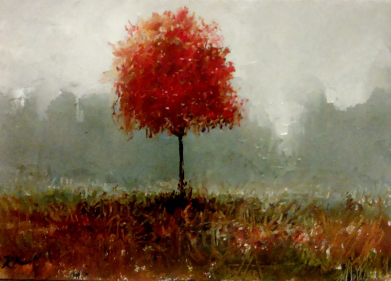 """A Single Red Tree"" original fine art by Bob Kimball"