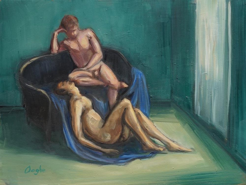 """Two Men in Green Room"" original fine art by Angela Ooghe"