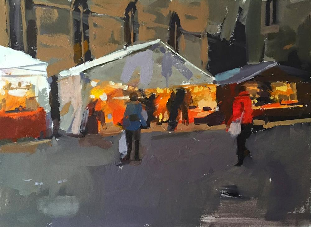 """Christmas market at dusk"" original fine art by Haidee-Jo Summers"