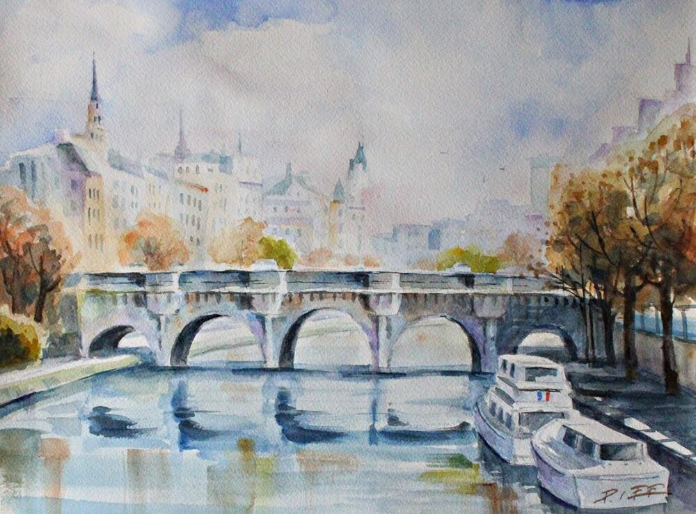 """Autumn in Seine River"" original fine art by Peter Lee"
