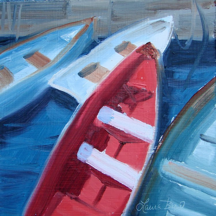 """Red Boat - 89"" original fine art by Laura  Buxo"