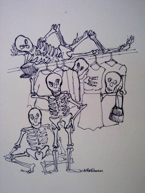 """Skeletons in My Closet"" original fine art by Kathy Los-Rathburn"