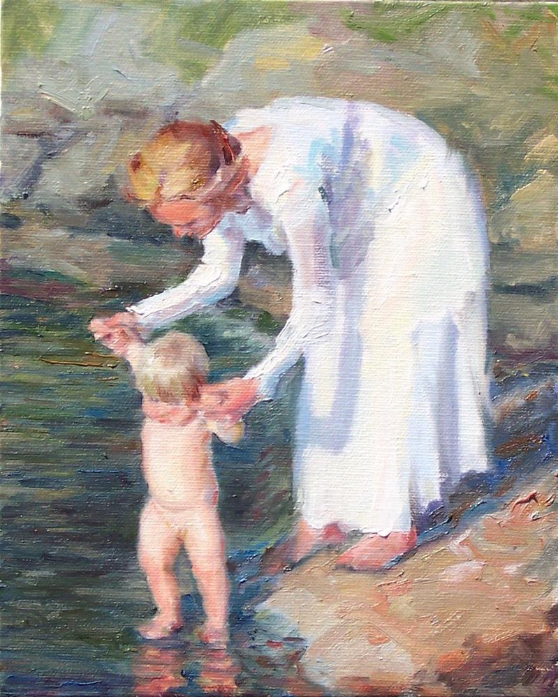 """First Dip,figure,oil on canvas,10x8,priceNFS"" original fine art by Joy Olney"