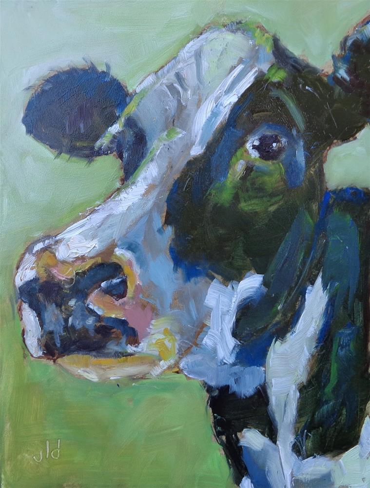 """Cow 47 I'm looking at you"" original fine art by Jean Delaney"