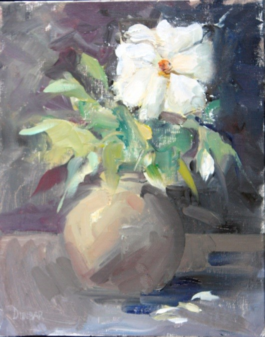 """The White Rose"" original fine art by Linda Dunbar"