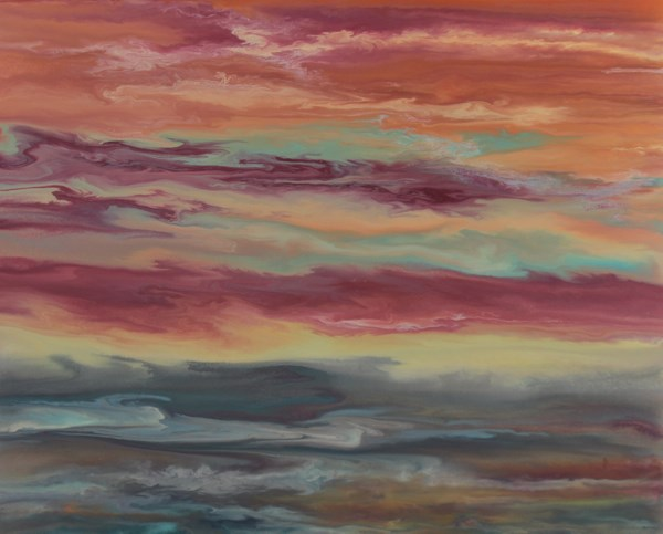 """Abstract Landscape,Sunset Art Painting, 24x30 Reflecting Softly by Colorado Contemporary Artist Ki"" original fine art by Kimberly Conrad"