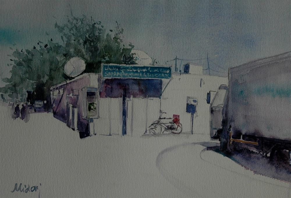 """A grocery store in Al Ain, UAE"" original fine art by Midori Yoshino"