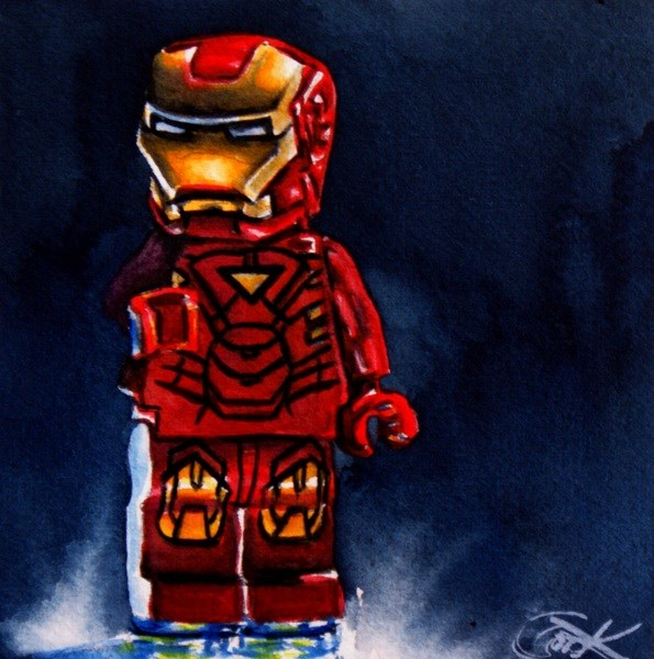 """Lego Iron Man"" original fine art by Crystal Cook"
