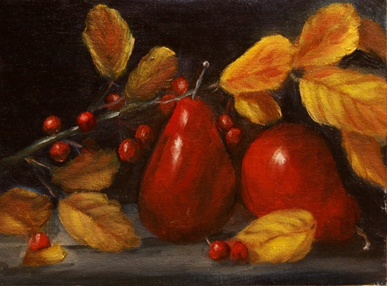 """Red Pears"" original fine art by Mary Datum"