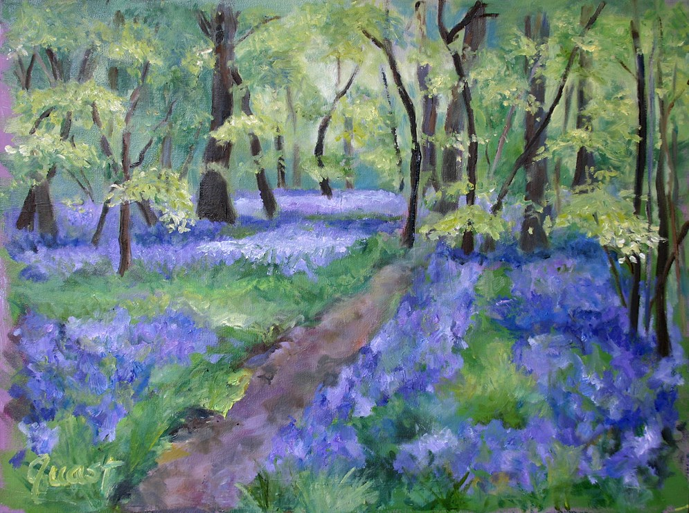 """Bluebell path"" original fine art by barbara quast"