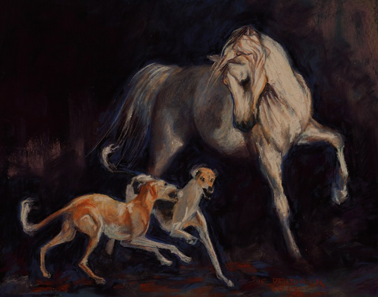 """Arabian Horse and Two Salukis"" original fine art by Sue Deutscher"