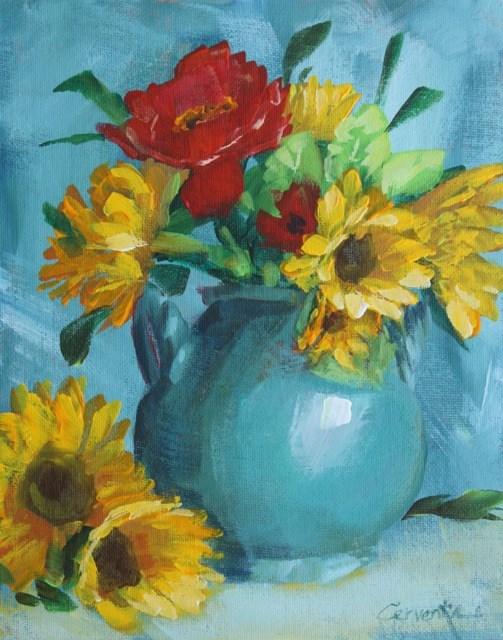 """Poppies and Sunflowers on Blue"" original fine art by Sue Cervenka"
