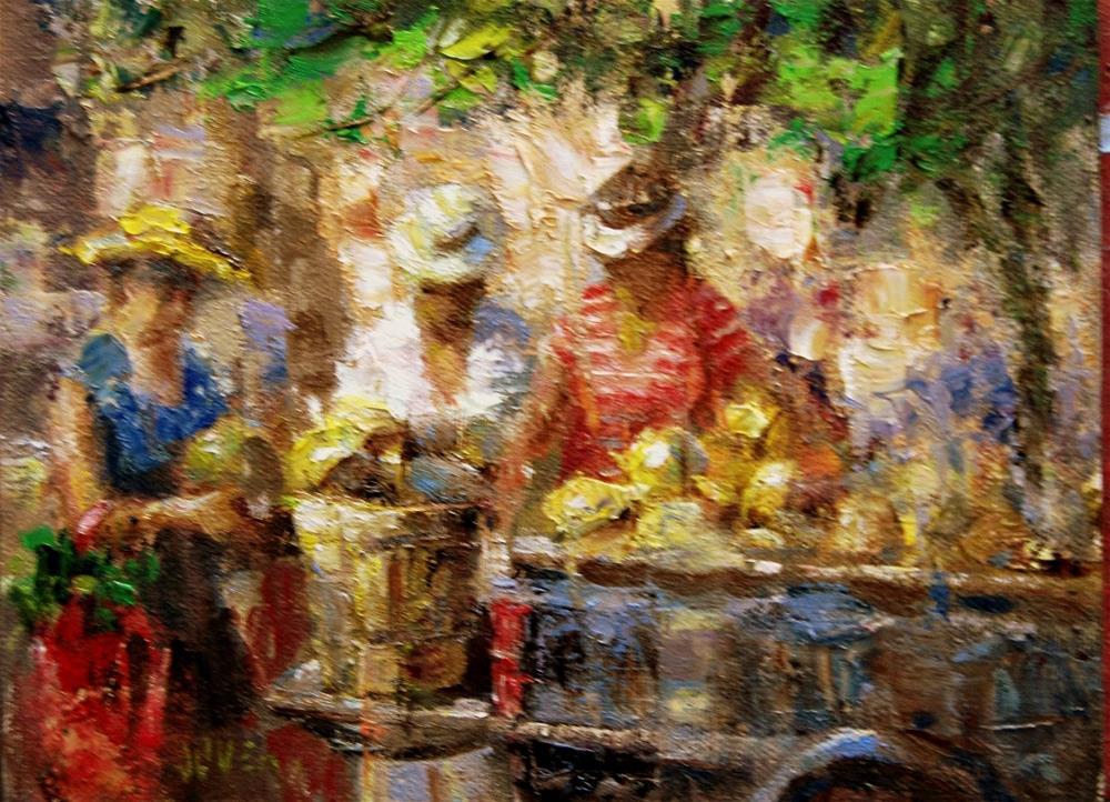 """Farmers Market #19 - The Melon Man"" original fine art by Julie Ford Oliver"