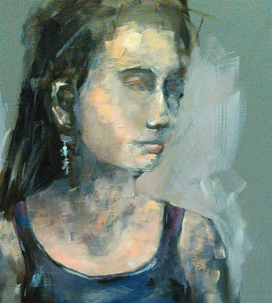 """Finished Portrait/Harley Girl"" original fine art by Ann Rudd"
