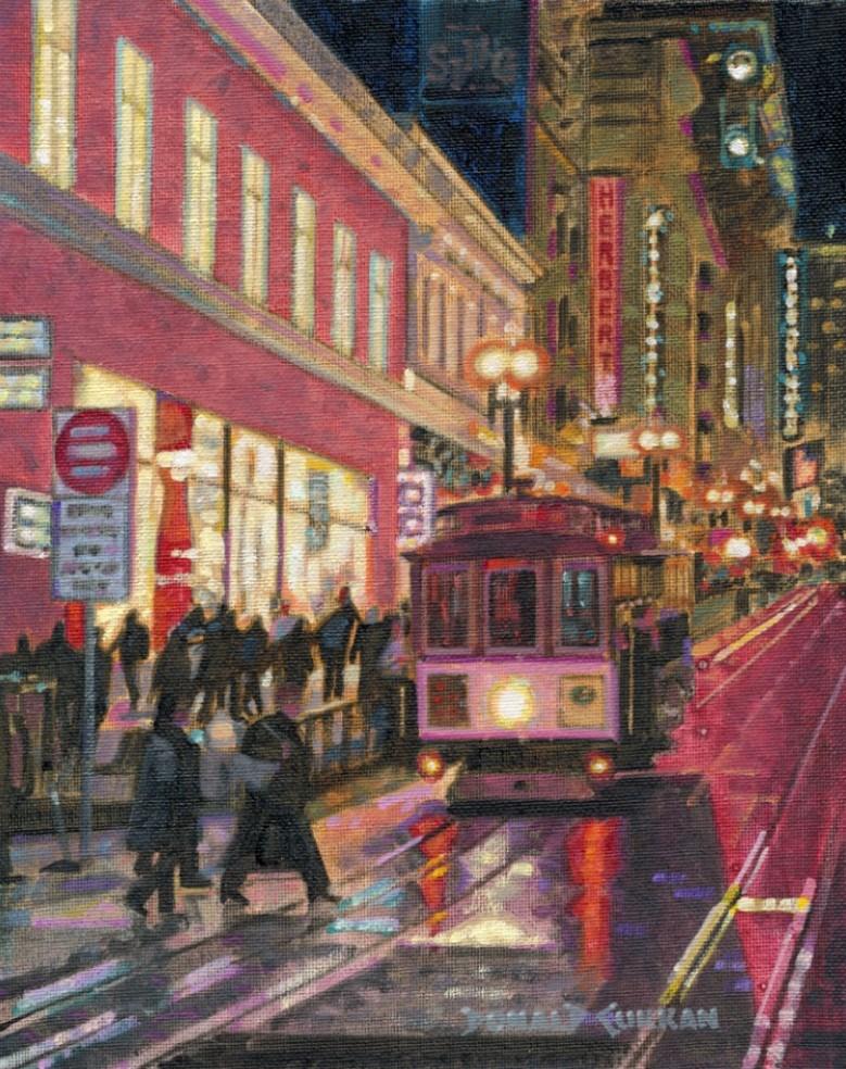 """San Francisco Trolley"" original fine art by Donald Curran"