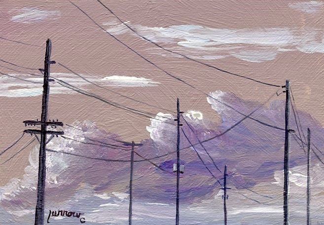 """ORIGINAL PAINTING OF SKY WITH UTILITY POLES AND ELECTRIC LINES"" original fine art by Sue Furrow"