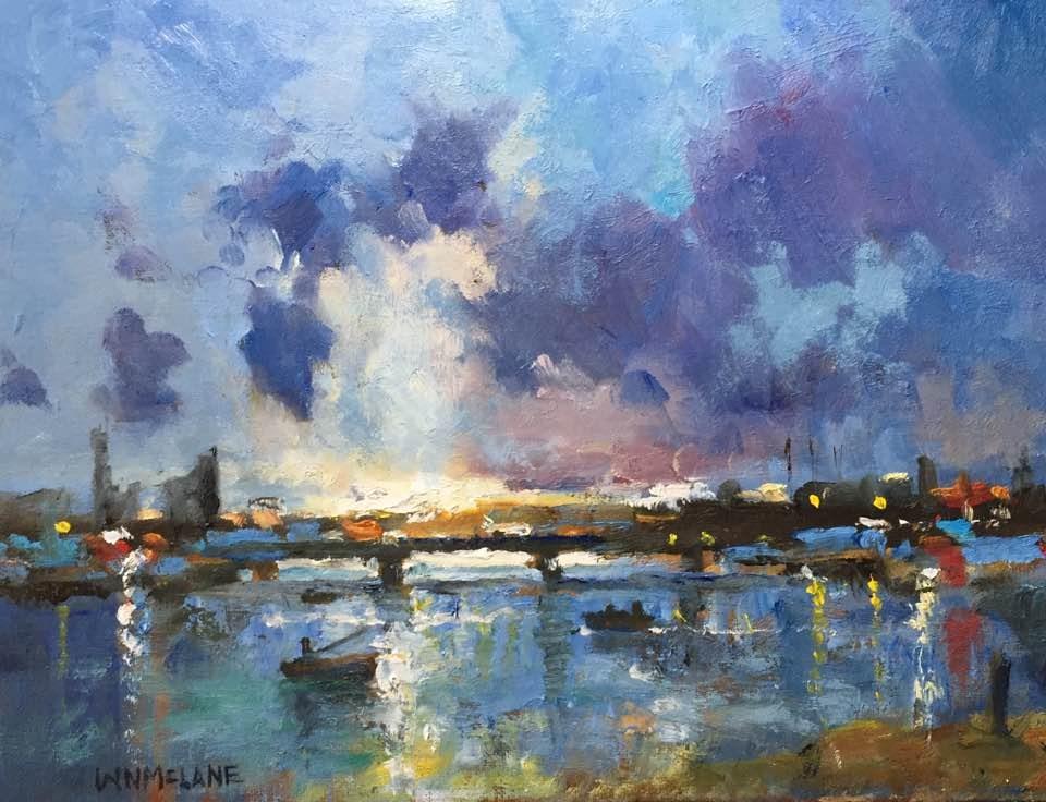 """Bridge at Sundown. Oil on canvas board, 9 x12."" original fine art by William  McLane"