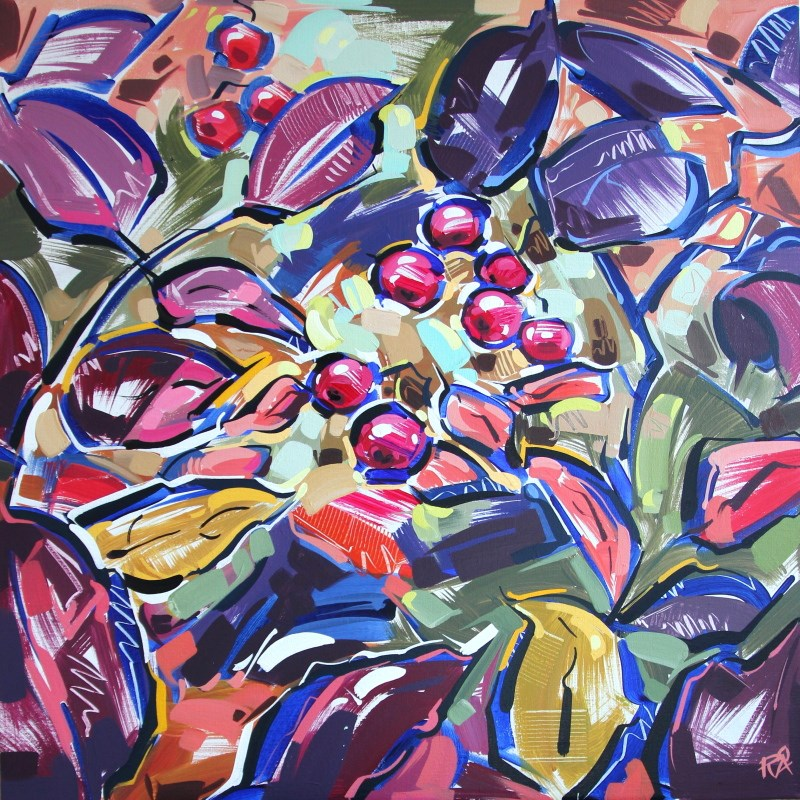 """Autumn Berry Abstraction 2"" original fine art by Roger Akesson"