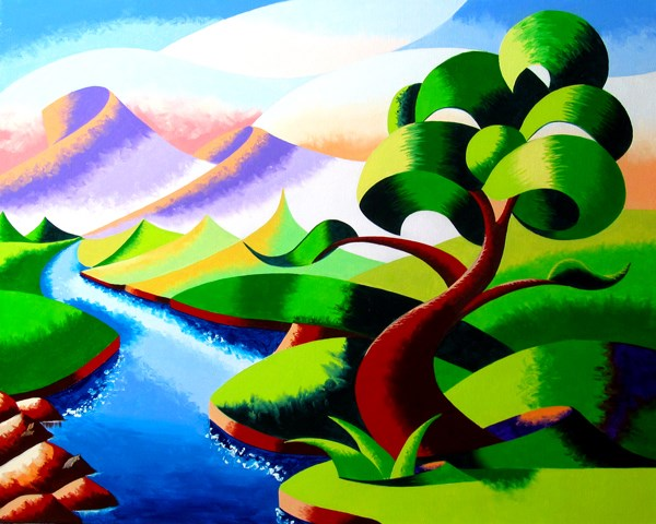 """""""Mark Webster - Abstract Geometric Futurist Mountain River Landscape Oil Painting"""" original fine art by Mark Webster"""