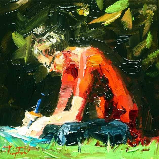 """""""Schreibende"""" original fine art by Jurij Frey"""
