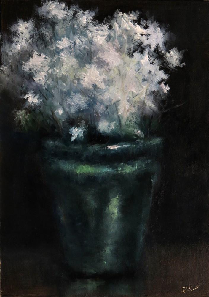"""White Flowers"" original fine art by Bob Kimball"