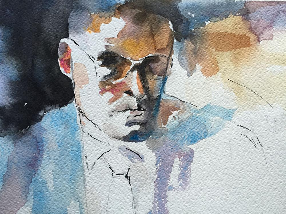 """MAN WITH GLASSES"" original fine art by Ferran Llagostera"
