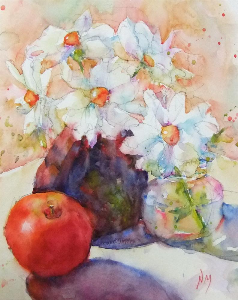 """visiting apple"" original fine art by Nora MacPhail"