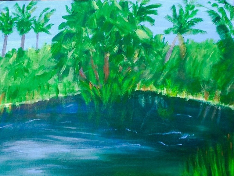 """Green"" original fine art by Brenda Smith"