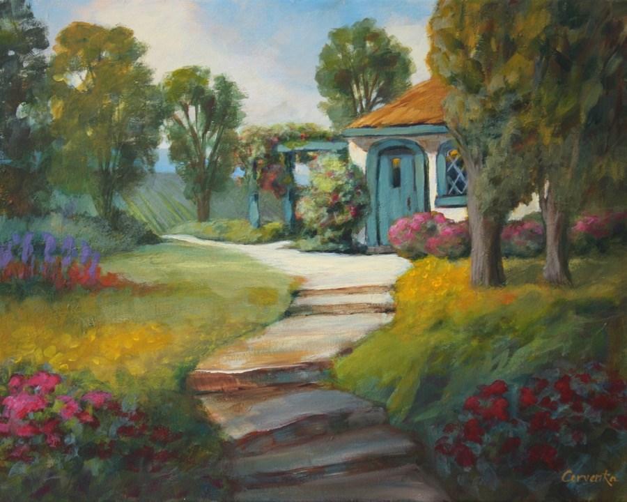 """Cottage on the Hill"" original fine art by Sue Cervenka"