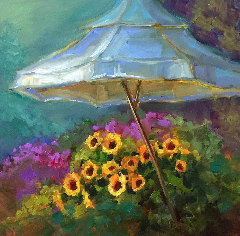 """Bienvenu Garden - Countdown to France"" original fine art by Nancy Medina"