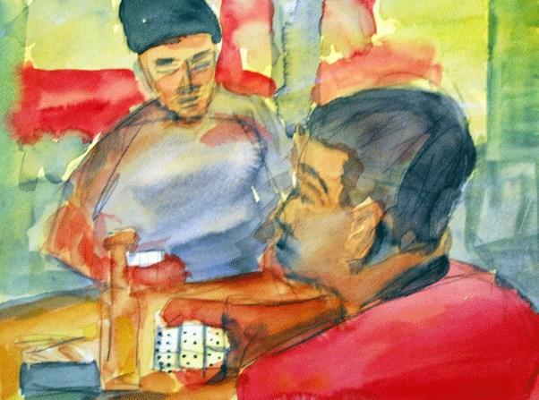 """""""Domino Hand"""" original fine art by Donna Crosby"""