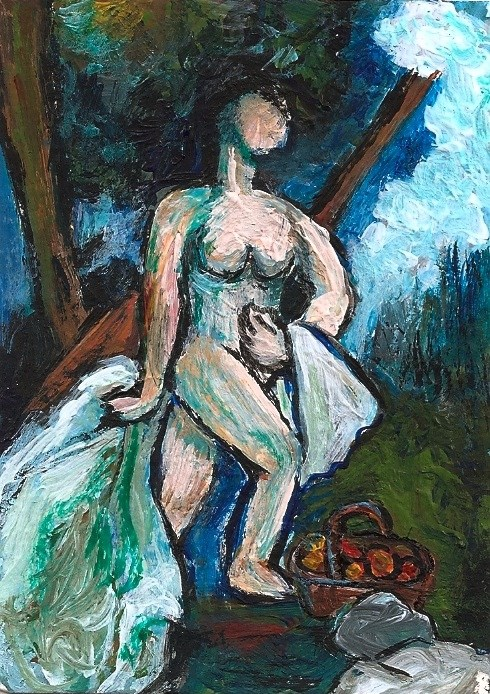 """ACEO The Bather in the style of Cezanne Miniature Masterpiece by Penny StewArt"" original fine art by Penny Lee StewArt"