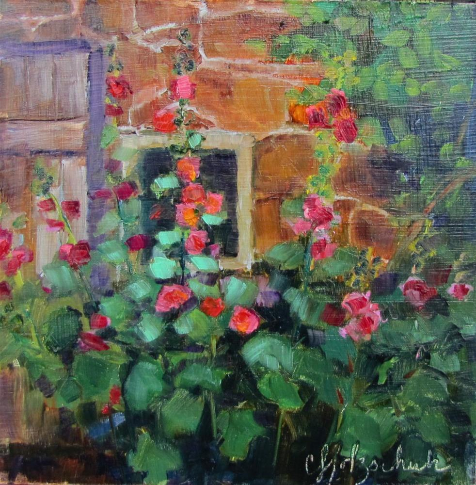"""Hollyhocks 6x6  oil"" original fine art by Christine Holzschuh"