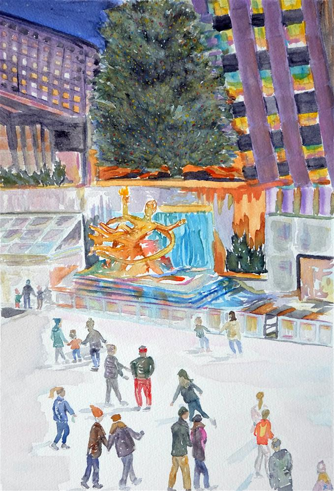 """Rockefeller Plaza"" original fine art by Laura Denning"