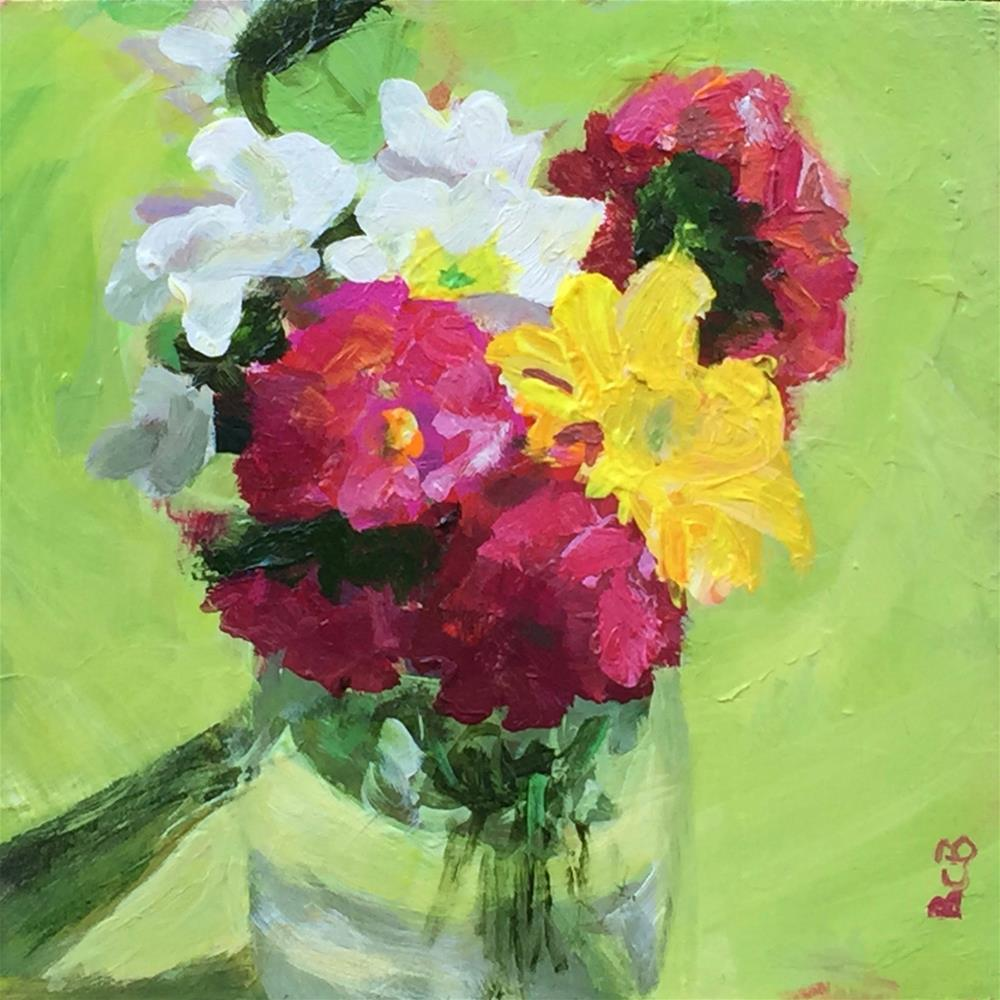 """Still life with flowers on lime"" original fine art by Beth Carrington Brown"