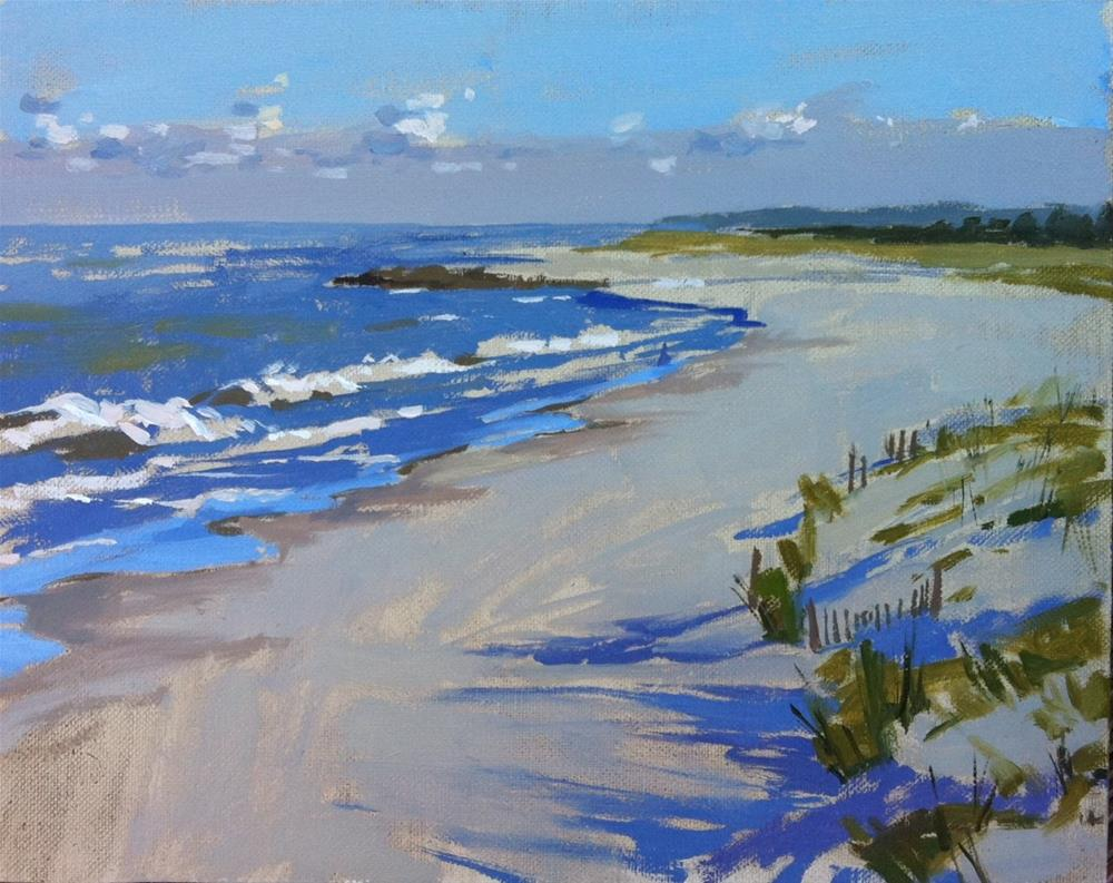 """Early morning shadows on Mexico beach"" original fine art by Haidee-Jo Summers ROI"