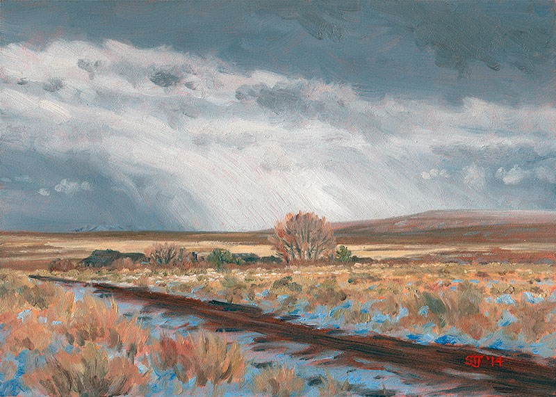 """C1587 The Distant Snow Shower (Hart Mountain National Antelope Refuge, Oregon High Desert)"" original fine art by Steven Thor Johanneson"