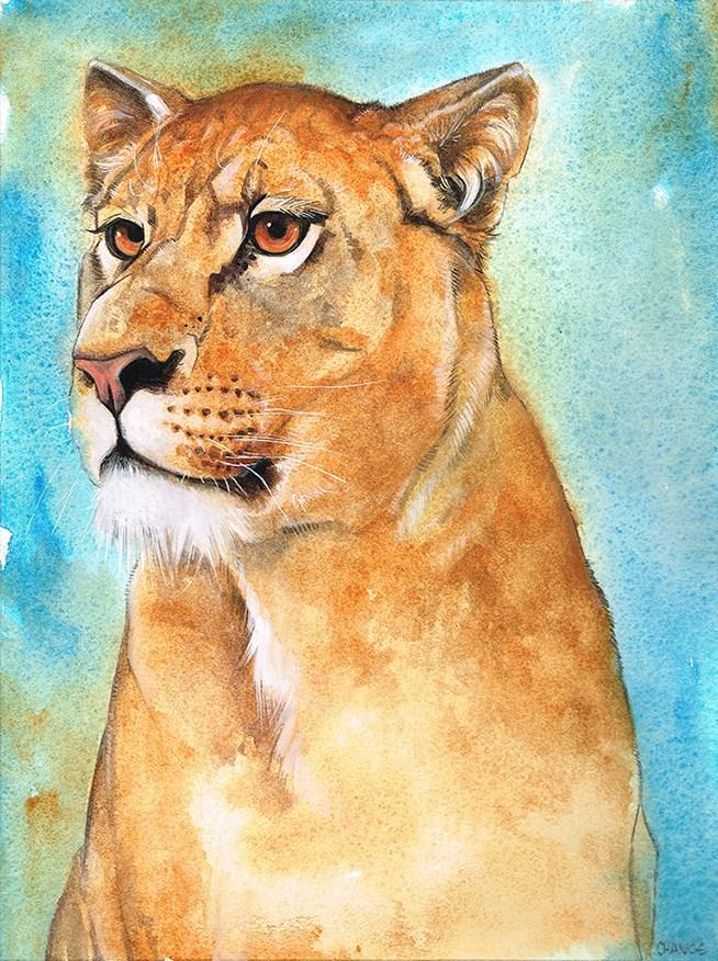 """""""No. 50 Lioness"""" original fine art by Annabel Chance"""