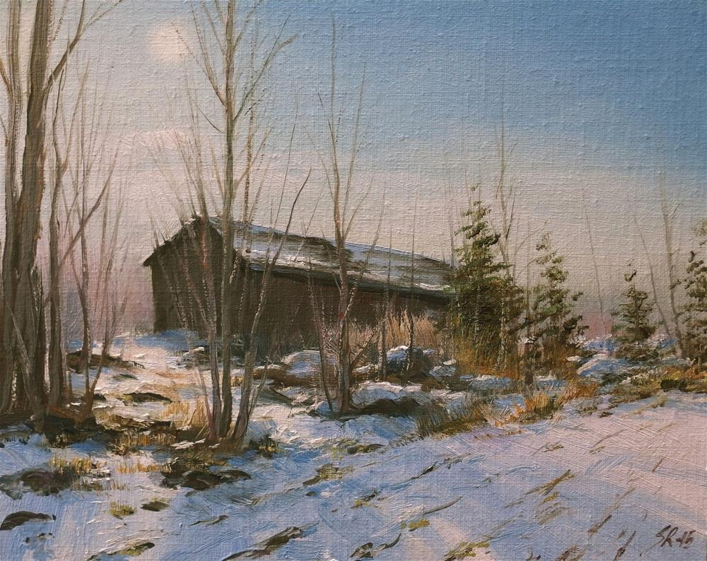 """The old barn"" original fine art by Stig Rosenlund"