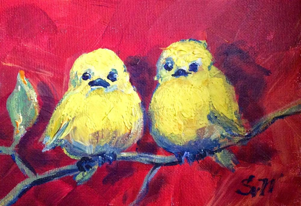 """Two yellow birds painting"" original fine art by Sonia von Walter"