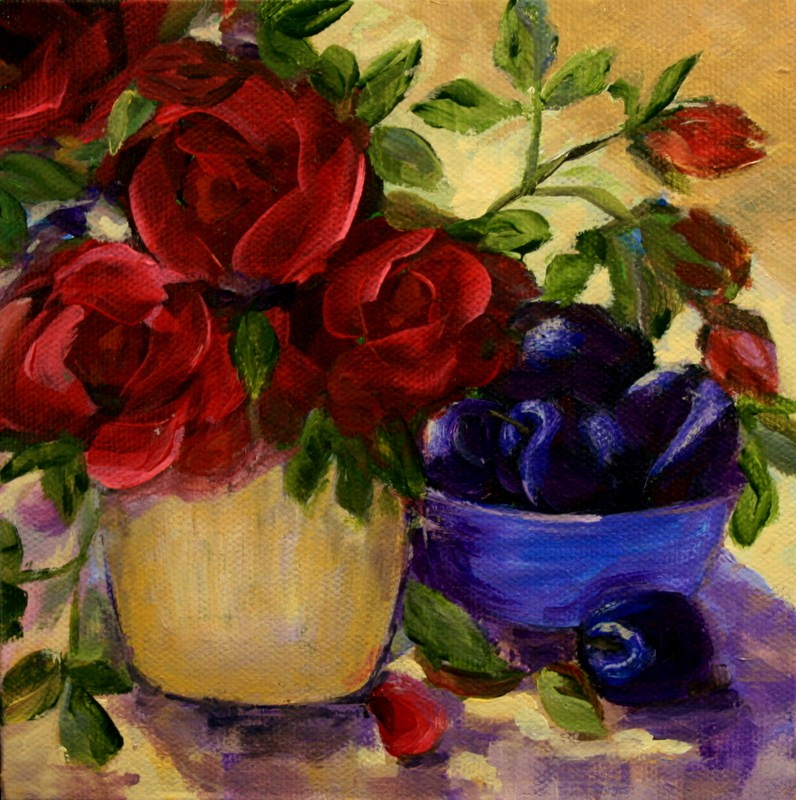 """""""Plums and Roses"""" original fine art by Jean Nelson"""