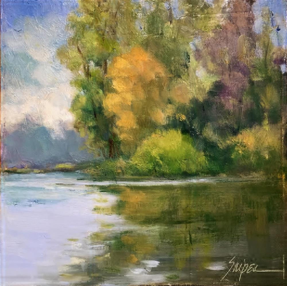 """""""The Lake in Fall"""" original fine art by Connie Snipes"""