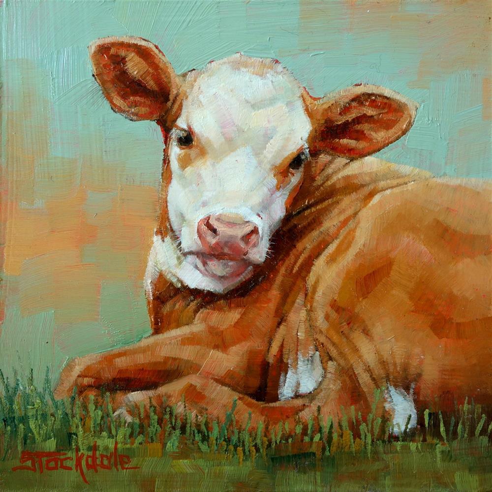 """""""Little Calf"""" original fine art by Margaret Stockdale"""