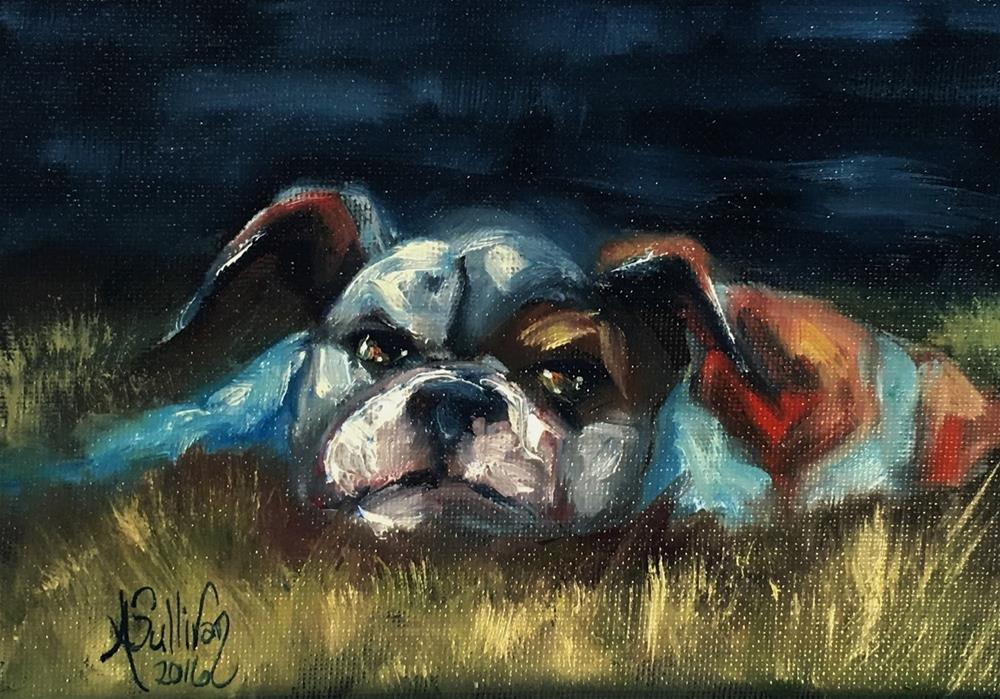 """To Tired to Chase Cats dog painting by Alabama Artist Angela Sullivan"" original fine art by Angela Sullivan"