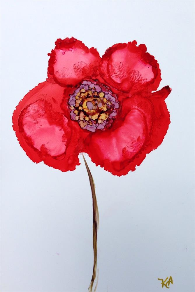 """Red Poppy"" original fine art by Kris Alge"