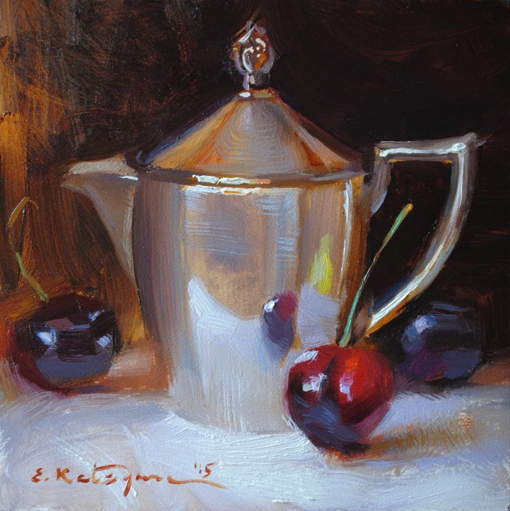 """""""Creamer and Cherries"""" original fine art by Elena Katsyura"""